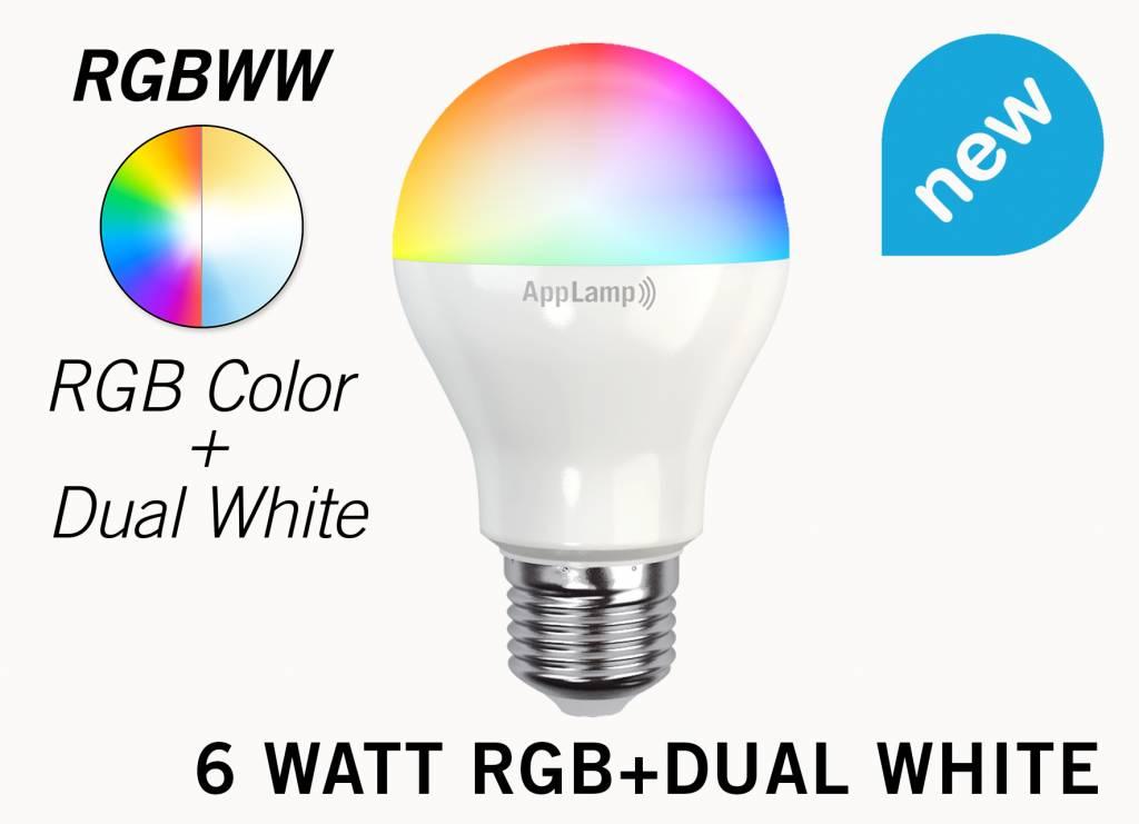 Mi·Light E27 RGB+Dual White 6 Watt Wi-Fi LED lampen. Complete set met Wifi Box en Remote!