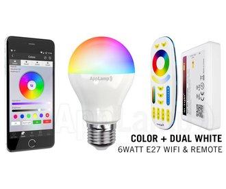 E27 RGB+Dual White 6 Watt Wi-Fi LED lampen. Complete set met Wifi Box en Remote!