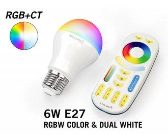 Set met RGBW + Dual White 6W LED lampen met Afstandsbediening