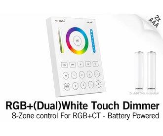 Mi·Light MiLight RGB+ DualWhite (RGB+CT) Touch Wandbediening Opbouw, 8-zones, RF, 2xAAA