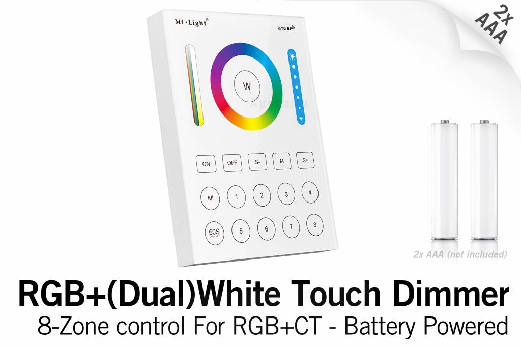 MiLight RGB+ DualWhite (RGB+CT) Touch Wandbediening Opbouw, 8-zones, RF, 2xAAA