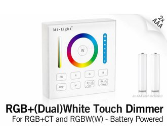 MiLight RGB+ DualWhite (RGB+CT) Touch Wandbediening Opbouw, 1-Zone, RF, 2xAAA