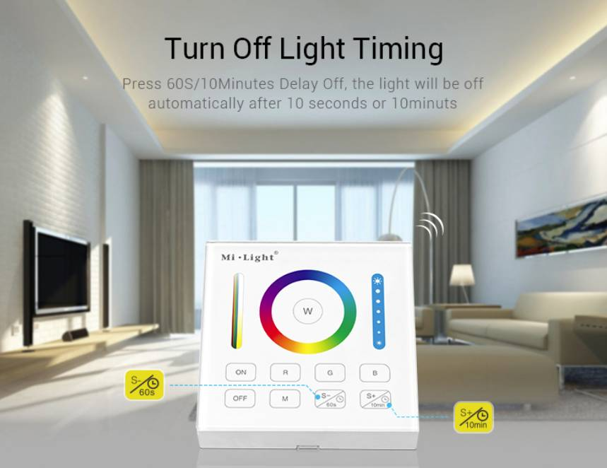 MiLight RGB+ DualWhite (RGB+CT) Touch Wandbediening Opbouw, 1-Zone, RF, 2xAAA
