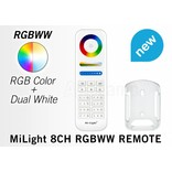 MiLight RGB+ DualWhite (RGB+CT) Touch  hand afstandsbediening,  8-zones, RF, 2xAAA