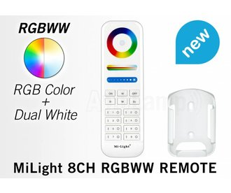 MiLight RGB+ DualWhite (RGB+CT) hand afstandsbediening,  8-zones, RF, 2xAAA