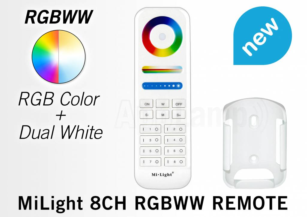 Mi·Light MiLight RGB+ DualWhite (RGB+CT) Touch  hand afstandsbediening,  8-zones, RF, 2xAAA