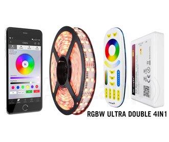 Wifi RGBW ULTRA Dubbele Rij LED strip met kleur + warm wit, 4 in 1 LED IP20