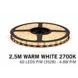 Warm Wit LED strip (2700K) 60 LED's p.m. type 3528 - 2,5M - 12V - 4,8W p.m.