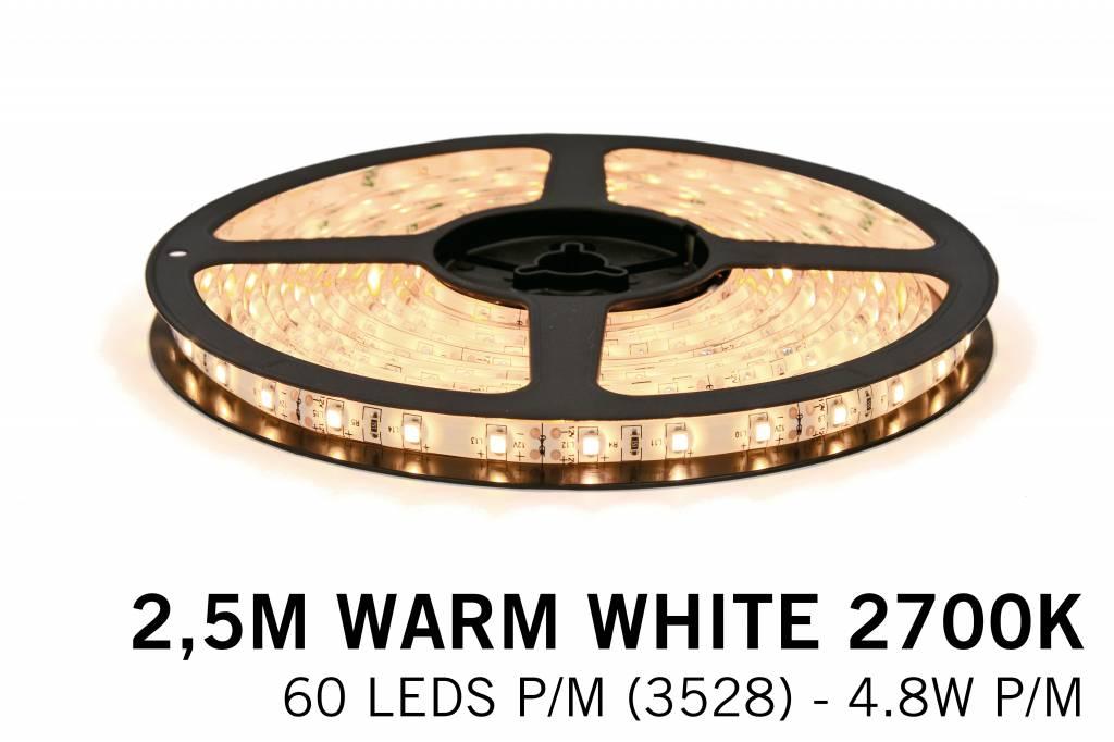 Warm Wit Led Strip   60 Leds pm 2,5m Type 3528 12V 4,8W pm Losse Strip