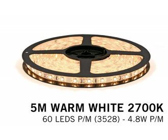 Warm Wit Led Strip | 60 Leds pm 5m Type 3528 12V 4,8W pm Losse Strip