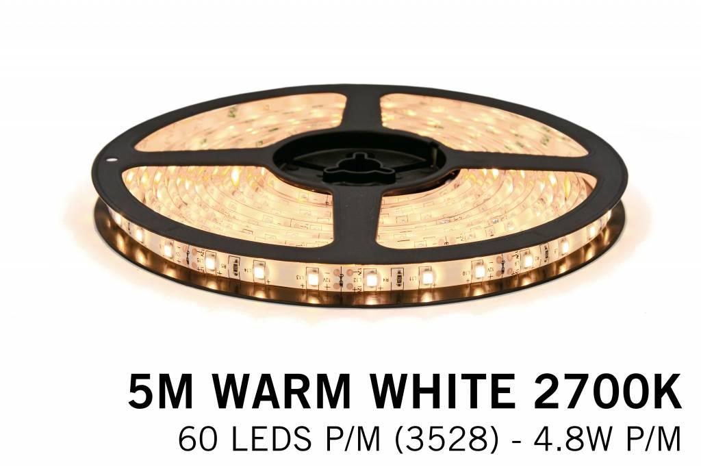 Warm Wit Losse Led Strip | 5m 60 Leds pm Type 3528 12V 4,8W pm