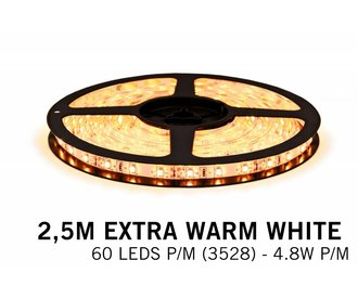 Extra Warm Wit IP65 Led Strip | 2,5m 60 Leds pm Type 3528 Losse Strip