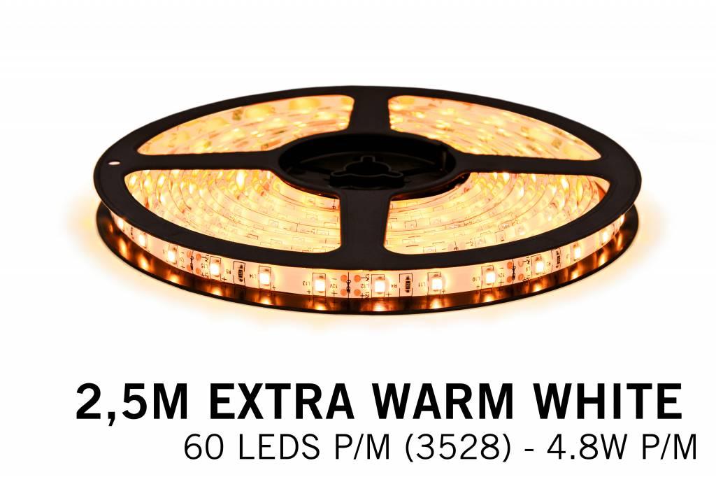 Extra Warm Wit Losse Led Strip | 2,5m 60 Leds pm Type 3528 12V 4,8W pm IP65