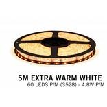 Extra Warm Wit Losse Led Strip | 5m 60 Leds pm Type 3528 12V 4,8W pm IP65