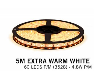 Extra Warm Wit IP65 Led Strip | 5m 60 Leds pm Type 3528 Losse Strip