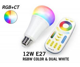 Set met RGBW + Dual White 12W LED lampen met Afstandsbediening