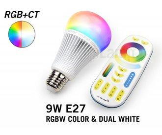 Set met RGBW + Dual White 9W LED lampen met Afstandsbediening