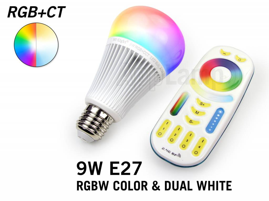 Set met 9W RGBWW Kleur + Dual White Mi-Light LED lampen met Afstandsbediening