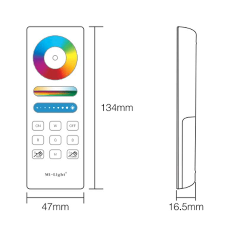 Mi·Light RF RGB Kleur+Dual White (CT) 1-zone Controller *Nieuw* met RF afstandsbediening 5x6A