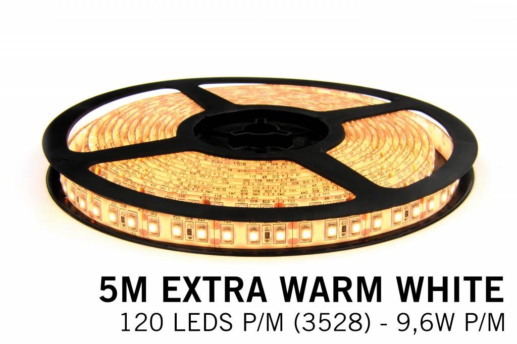 Extra Warm Wit Losse Led Strip | 5m 120 Leds pm Type 3528 12V 9,6W pm