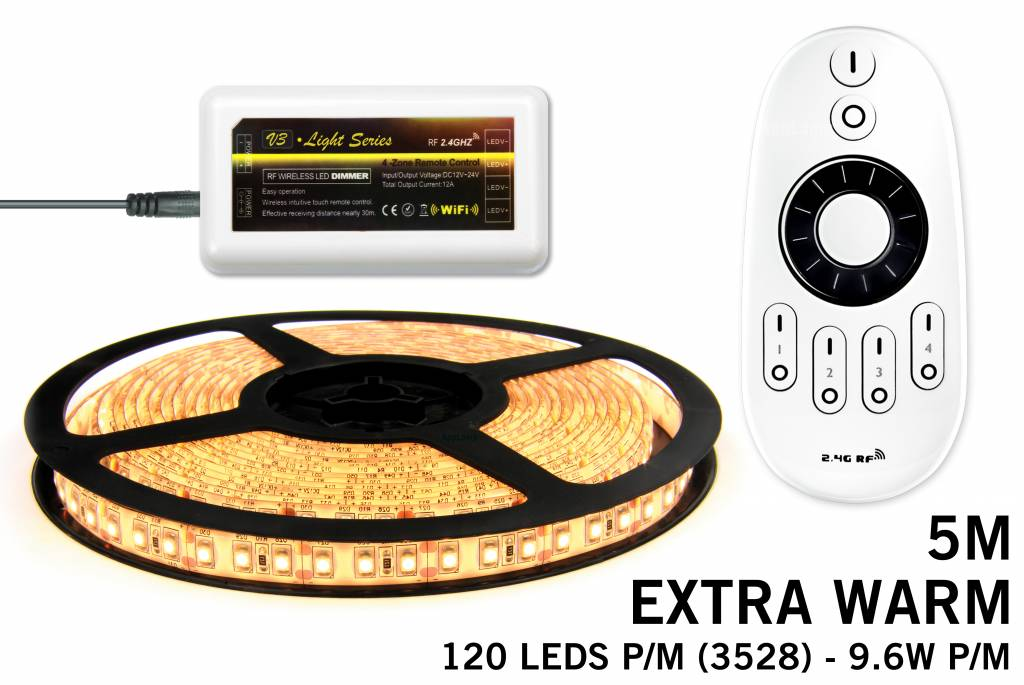 Mi·Light Extra Warm Wit Led Strip | 120 Leds pm 9,6W pm met afstandsbediening
