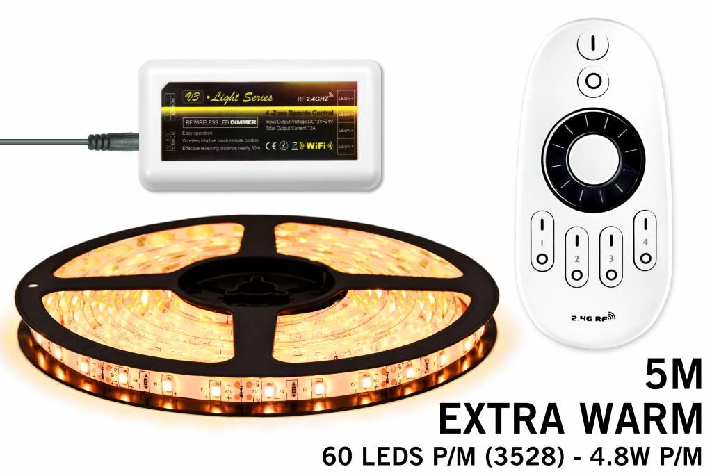 Mi·Light LED strip set Extra Warm Wit 300 leds - 24W 12V IP65 5M, RF dimbaar