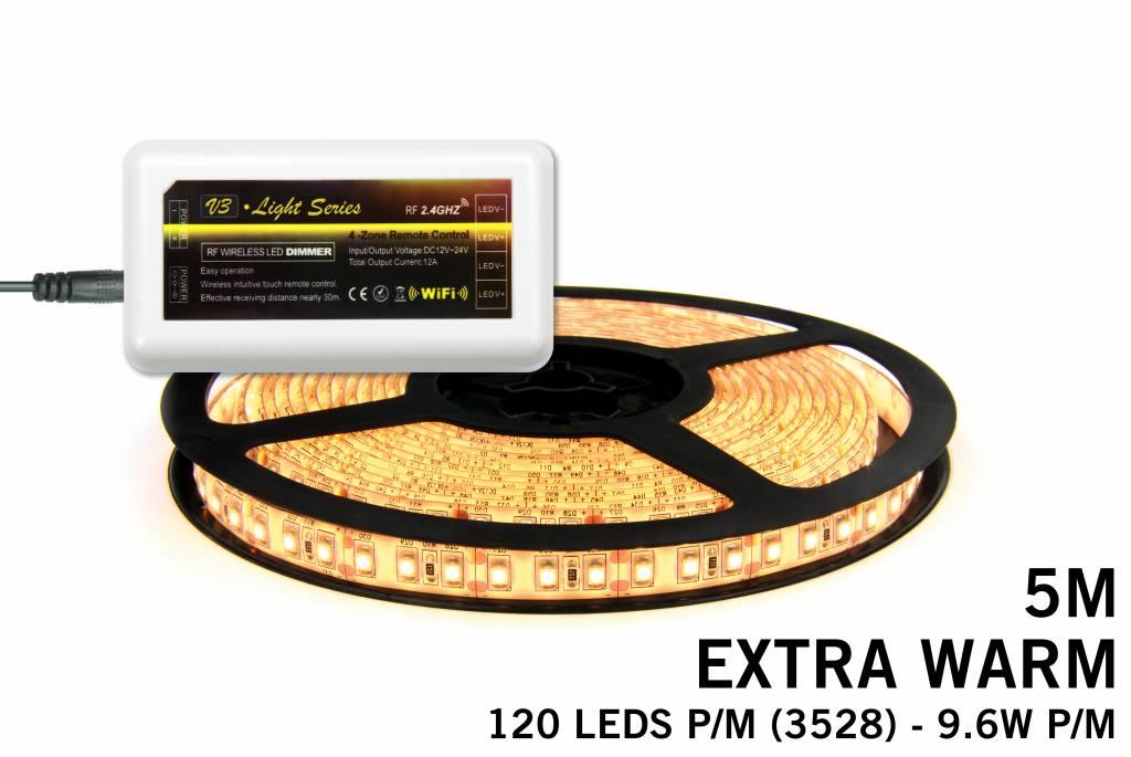 MiLight Extra Warm Witte LED strip met 600 type 3528 leds 48W 12V 5M - Uitbreidingsset
