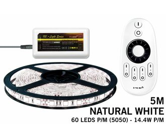 Mi·Light Neutraal Wit Led Strip | 60 Leds pm 14,4W pm IP65 met afstandsbediening