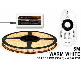 Mi·Light Warm Wit Led Strip | 60 Leds pm Type 3528 4,8W pm met afstandsbediening