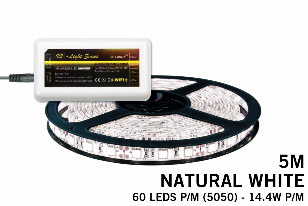Mi·Light Neutraal Wit Led Strip uitbreidingsset met controller en adapter | 60 Leds pm Type 5050 12V 14,4W pm IP65