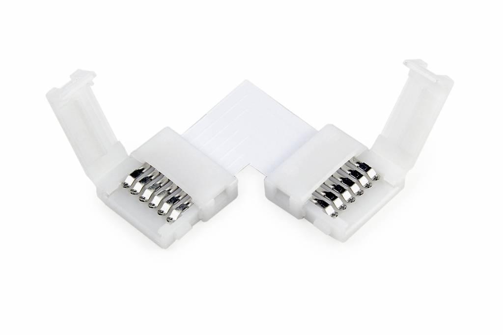 90° L-Connector voor RGBWW / RGBCCT Led Strips voor 12mm | 6 Contacten | Soldeervrij