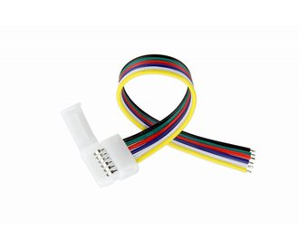 Clip Pigtail Connector voor 12mm RGBWW / RGB CCT Led Strips | 6 Contacten