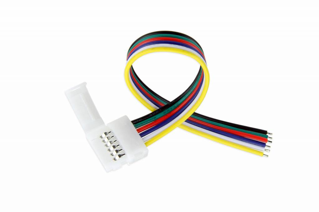 RGB+Dual White LED strip pigtail connector voor 12mm strips, soldeervrij, 15cm - 6 contacten