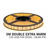 Mi·Light Extra Warm Wit Led Strip uitbreidingsset met controller en adapter | Dubbele rij 5m 120 Leds pm Type 5050 12V 28,8W pm IP65