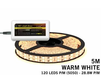 Mi·Light Warm Wit Led Strip | Dubbele rij 120 Leds pm 28,8W pm uitbreidingset
