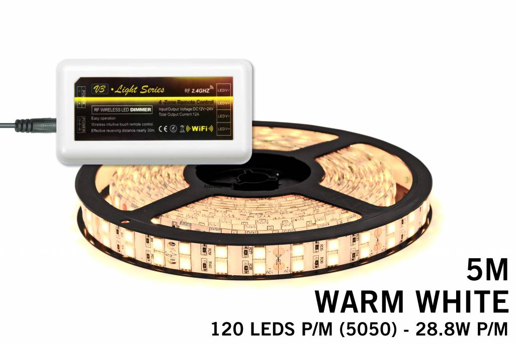 Mi·Light Warm Wit Led Strip | Dubbele rij 120 Leds pm 28,8W pm uitbreidingset