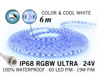 AppLamp IP68 Waterdichte RGBW ULTRA Ledstrip, RGB+Koel wit, 60 led's p/m, 24 Volt, 6 meter