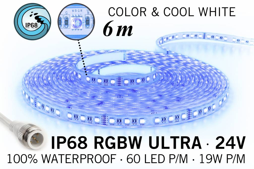 RGB & Koel Wit IP68 Waterdicht Ultra 4 in 1 Led Strip | 60 Leds pm 6m Type 5050 24V 19,2W pm
