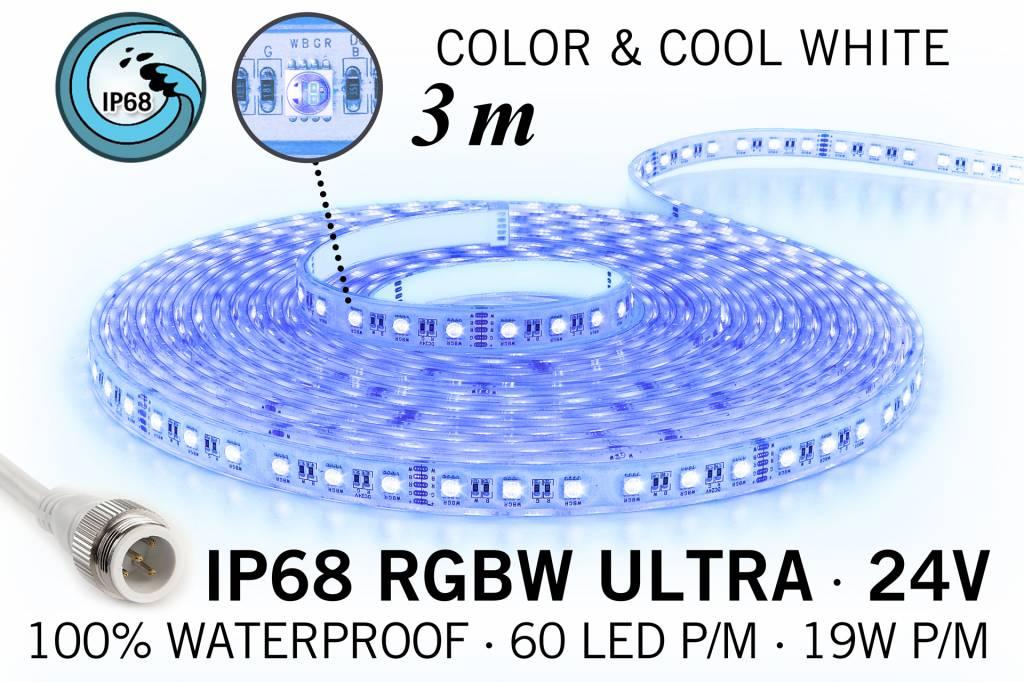 IP68 Waterdichte RGBW ULTRA Ledstrip, RGB+Koel wit, 60 led's p/m, 24 Volt, 3 meter