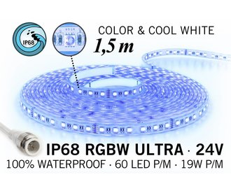 AppLamp IP68 Waterdichte RGBW ULTRA Ledstrip, RGB+Koel wit, 60 led's p/m, 24 Volt, 1,5 meter