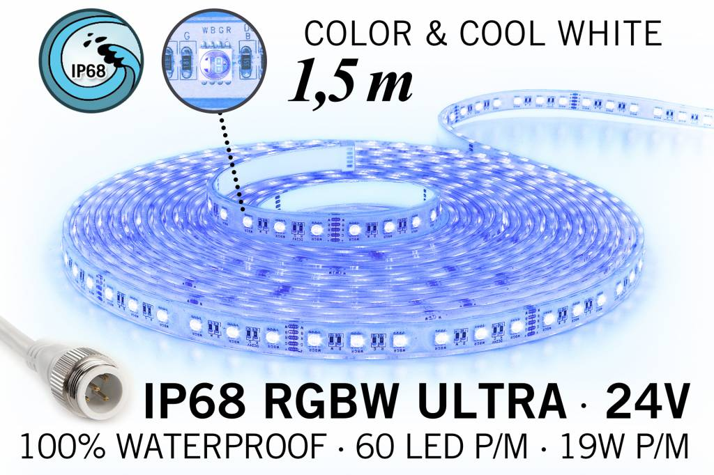 IP68 Waterdichte RGBW ULTRA Ledstrip, RGB+Koel wit, 60 led's p/m, 24 Volt, 1,5 meter