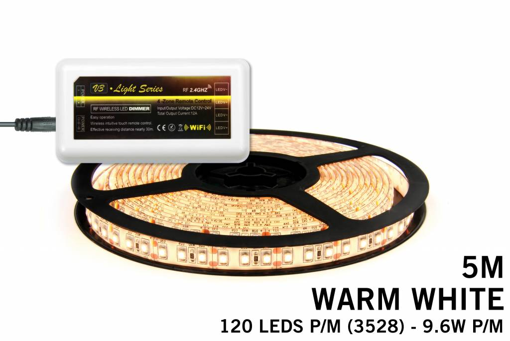 Mi·Light Warm Wit Led Strip | 120 Leds pm Type 3528 9,6W pm IP65 uitbreidingset