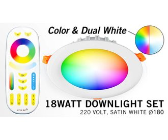 Mi-Light 18Watt RGBWW Kleur + Dual White LED Inbouwspot 220V + Afstandbediening