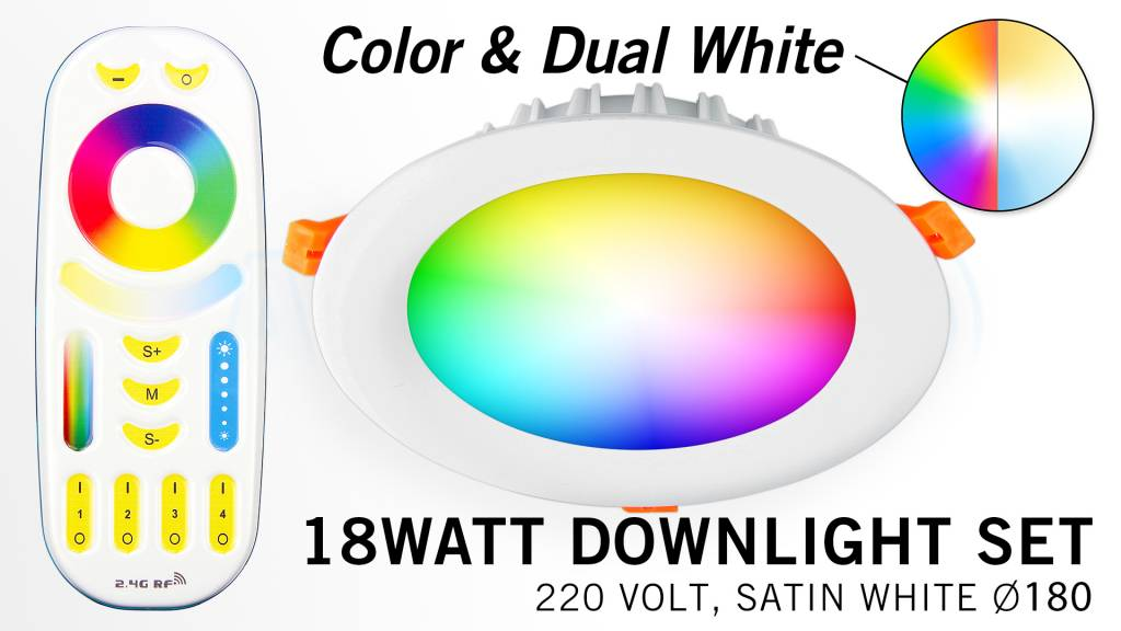 Mi-Light Set 18Watt Dimbaar RGBWW Kleur + Dual White LED Inbouwspot 220V + Afstandbediening. Mat Wit. Rond Ø180mm