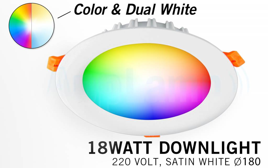 Mi-Light 18Watt Dimbaar RGBWW Kleur + Dual White LED Inbouwspot 220V. Mat Wit Ø180mm