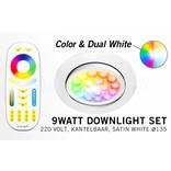 Mi·Light LED Inbouwspot met Afstandsbediening Mi-Light 9W RGBWW Kleur + Dual White 220V. 30° Kantelbaar. Satijn Wit