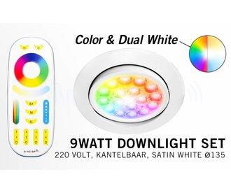Mi-Light 9W RGBWW LED Inbouwspot + afstandsbediening. Kantelbaar