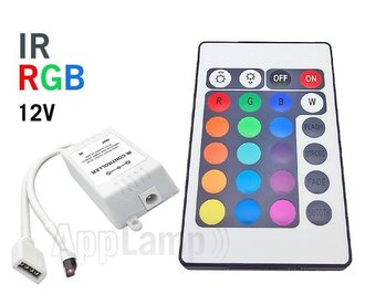 RGB LED-strip Controller met IR 24 KEY afstandsbediening, 12V 6A