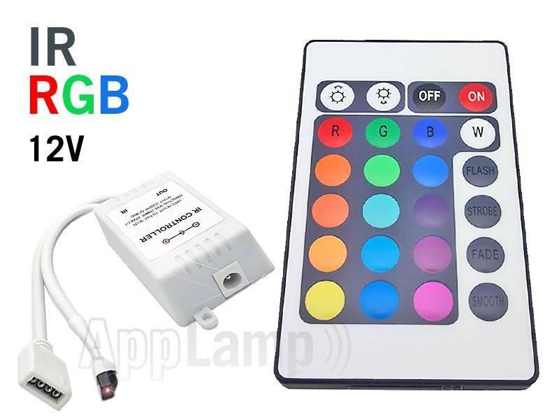 RGB LED-strip Controller met IR 24 KEY afstandsbediening, 12V 6A