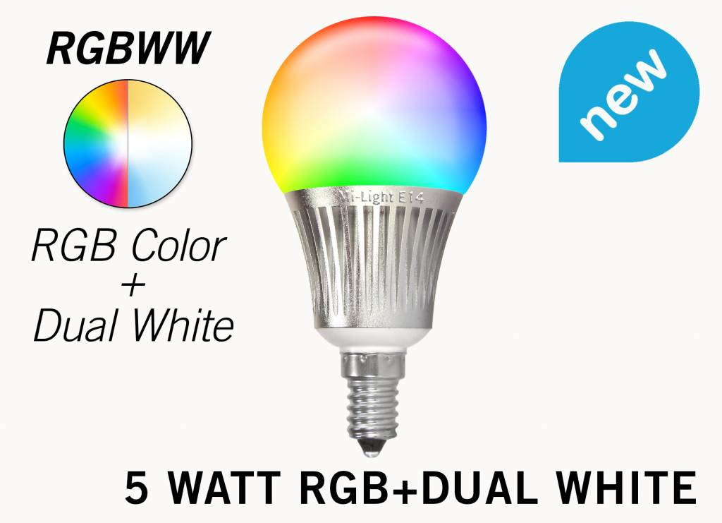 Wifi LED Lamp Mi-Light 5W RGB+Dual White E14. Op afstand bedienbaar